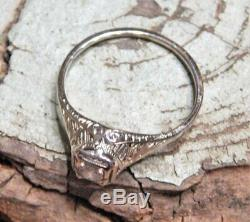 Antique Solid 18k Gold Edwardian Elevated Pierced Mount Diamond Engagement Ring