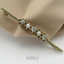 Antique Victorian Edwardian 14k Gold Diamond Pearl Buttercup Bar Brooch Pin