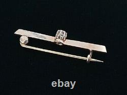 Antique Victorian Edwardian 14k Gold Rose Mine Diamond Brooch Pin Jewelry Estate