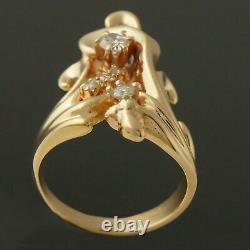 Antique Victorian Edwardian Engraved Ring 1.6 Ct Diamond 14k Yellow Gold Filled