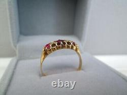 Antique Vintage Edwardian 18ct Yellow Gold Natural Old Cut Ruby & Diamond Ring