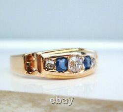 Antique Vintage Edwardian 18ct Yellow Gold Old Round Cut Diamond & Sapphire Ring