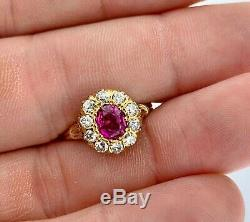 AntiqueFine Ruby1.10 Ct and Old Mine Diamonds (0.60 Ct)Edwardian Cluster Ring