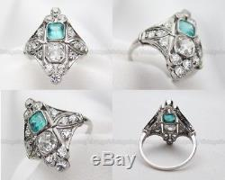 Art Deco 2 Ct Diamond Vintage Edwardian Antique 14K White Over Ring C. 1837's