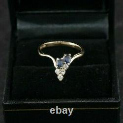 Blue Sapphire and Diamond Cluster Ring, 14K Yellow Gold, Size 6.5