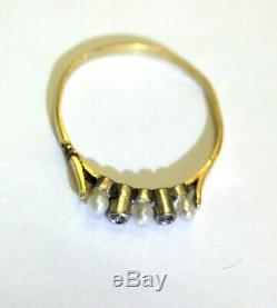Cute Small Antique Edwardian Pearl and Rose Cut Diamond 18K Gold Ring Size 5.75