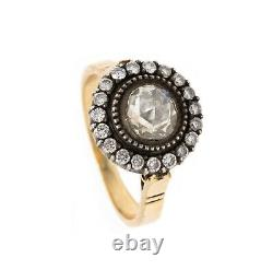 EDWARDIAN 1900'S ENGAMENT HALO RING 18 KT WITH 1.38 Cts DOUBLE ROSE CUT DIAMONDS