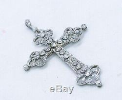 EDWARDIAN 1910 PLATINUM JEWELED CROSS WITH 4.59 Cts IN ROSE CUT DIAMONDS RARE