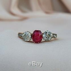 Early XXc Ruby & Diamond Three-stone Ring Edwardian Diamond Ring Vintage Antique