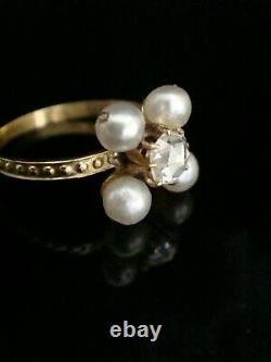 Edwardian 18ct Yellow Gold Rose Cut Diamond And Cultured Pearl Ring