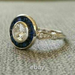 Edwardian Antique 2.60Ct Diamond & Sapphire Engagement Ring 14k White Gold Over