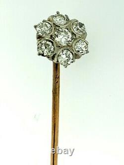 Edwardian Antique Old Mine Cut Diamonds 14k Yellow Gold Stick Pin Cluster Form