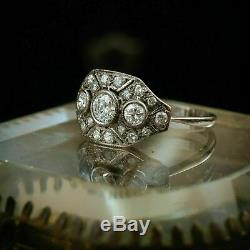 Edwardian Engagement Ring 2 Ct Diamond Vintage Art Deco Ring 14k White Gold Over