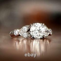Edwardian Engagement Vintage Solitaire Ring 2.58Ct Diamond 14K White Gold Plated