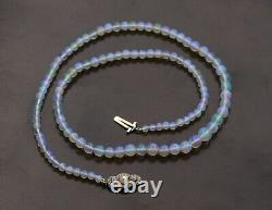 Edwardian Graduated Opal Bead Strand Necklace with Platinum and Diamond Clasp