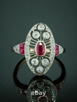 Edwardian Natural Ruby And Diamond Filigree Navette Cluster Ring