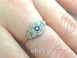 Edwardian Natural sapphire and diamond Vintage 9k ring size 5