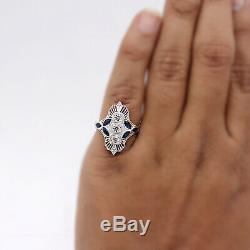 Edwardian Style Filigree Ring with Diamond and Sapphire Milgrain 14Kt White Gold