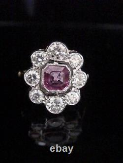 Edwardian Style Fine 18ct Pink Sapphire 1.10ct And Diamond 1.20ct Ring Vs1-si2