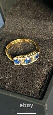 Edwardian Victorian Sapphire And Diamond Antique Estate Ring