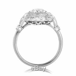 Edwardian Vintage Art Deco Engagement Ring 1930s 3Ct Diamond 14k White Gold Over