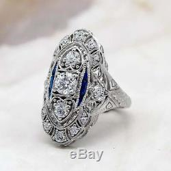 Edwardian Vintage Engagement Ring 3 Ct Diamond & Sapphire In 14K White Gold Over
