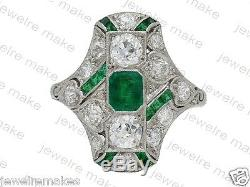 Edwardian Vintage Green Diamond Engagement and Wedding 925 Sterling Silver Ring