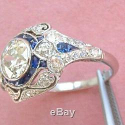 Engagement Ring Vintage Art Deco Edwardian 2.69 Ct Diamond 14k White Gold Finish