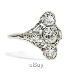 Engagement Ring Vintage Trilogy Edwardian 2.96 Ct Diamond In 14k White Gold Over