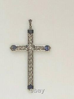 Large Vintage One of a Kind Edwardian 18k Gold Diamonds and Sapphire Cross