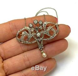 Lovely Antique Edwardian 18K Gold and Platinum Mine Diamond Lavalier Pendant