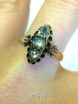 Lovely Edwardian Antique 3 Stone Rose Cut Diamond Navette Ring Size 7.25
