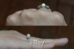 Natural Pearl 2 Old Mine Diamond Edwardian Trinity 3 Gem Antique Engagement Ring