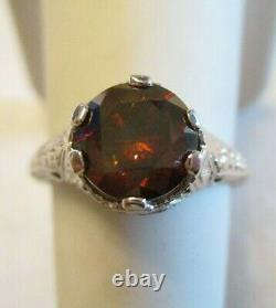 OLD 1910 Antique 18K White Gold FILIGREE Mounting RING with 1.35 CARAT RED DIAMOND