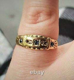 Sapphire & Diamond Ring c1902 Gypsy Victorian Edwardian Accent Ring 15k Gold