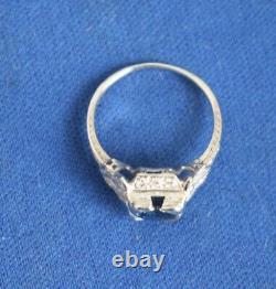 Spectaular Edwardian 14k PLATINUM with lots of Diamonds and 5/8c BLUE SAPPHIRE