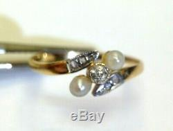 Sweet 18K Gold Antique Edwardian Diamond and Pearl Bypass Ring Size 3.5