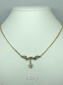 VERY PRETTY EDWARDIAN STYLE VINTAGE 9ct GOLD SEED PEARL, DIAMOND & RUBY NECKLACE