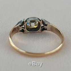 Victorian. 56 Old Mine Cut Diamond Engagement Ring Antique solitare Gold Vintage