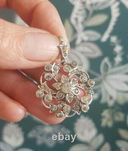 Victorian Edwardian Drop Pendant Without Chain 2.4Ct Diamond 14K White Gold Over