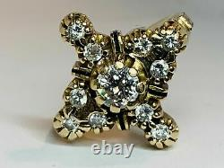 Victorian Edwardian Magnificent Circa Ring 1.5 Ct Diamond 14k Yellow Gold Plated