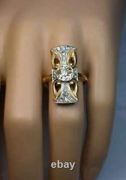 Victorian Edwardian Magnificent Circa Ring 2.7 Ct Diamond 14k Yellow Gold Plated