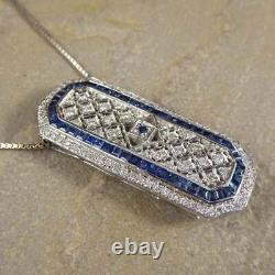 Victorian Edwardian Pendant Without Chain 2.58 Ct Diamond 14K White Gold Over