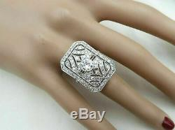 Victorian Edwardian Vintage Engagement Ring 1Ct Diamond Ring 14k White Gold Over