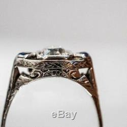 Vintage 1.97 Ct DIamond & Sapphire Edwardian Engagement Ring 14k White Gold Over