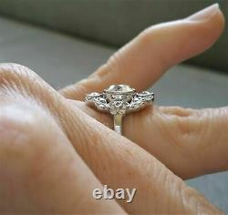 Vintage 3 Ct Round Diamond Antique Edwardian Engagement Ring 925 Sterling Silver