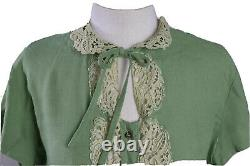 Vintage 40s Green button blouse lace hem and collar faux diamond buttons Carlye