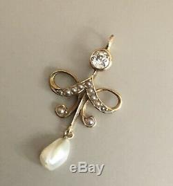Vintage Antique Edwardian 18ct Yellow Gold Diamond Pendant 0.28ct Baroque Pearl