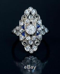 Vintage Art Deco 1.0Ct Round Diamond Antique Engagement Edwardian Ring in 925 SS