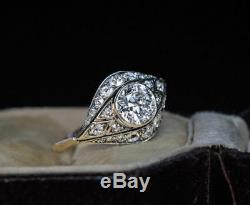 Vintage Art Deco 3 ct White Round Edwardian Engagement 14K White Gold Over Ring
